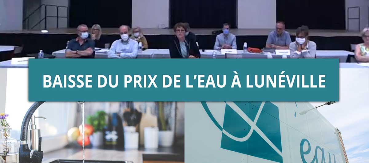 Baisse du prix de l'eau à Lunéville